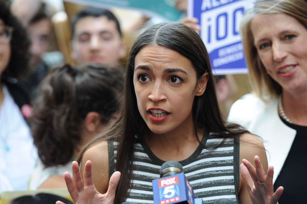 Alexandria Ocasio-Cortez speaks at a gathering where she endorsed a candidate for State Attorney General in New York, July 12, 2018.