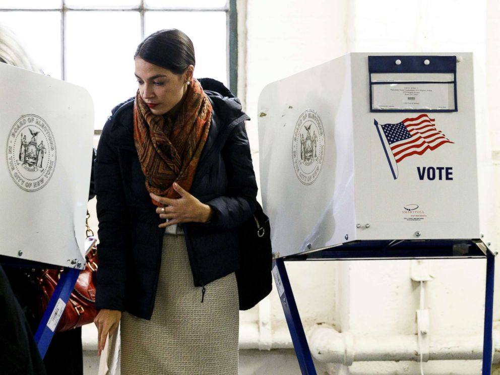 PHOTO: Alexandria Ocasio-Cortez casts her vote in the 2018 mid-term general election at a polling site in the Bronx, New York, Nov. 6, 2018.