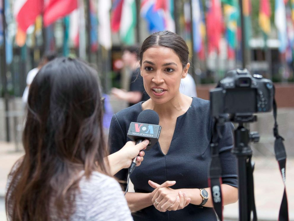 PHOTO: Alexandria Ocasio-Cortez, is photographed while being interviewed in Rockefeller Center, June 27, 2018, in New York City.