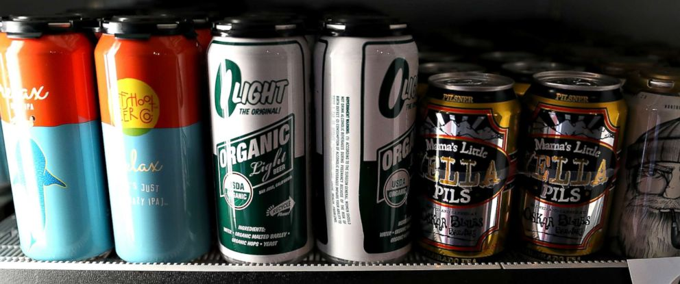 PHOTO: Beer in aluminum cans is displayed on a shelf at Ales Unlimited on March 2, 2018, in San Francisco.