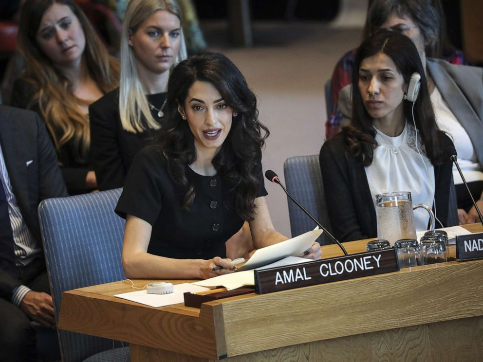 PHOTO: Amal Clooney speaks during a United Nations Security Council meeting at U.N. headquarters, April 23, 2019, in New York.
