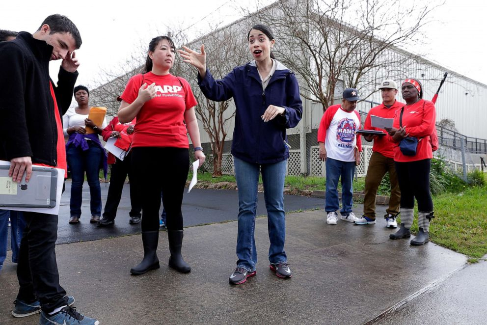 PHOTO: In this Feb. 23, 2019 photo, Houston city council member Amanda K. Edwards, center, gives instructions to staff and volunteers before they head out in groups to canvas houses affected by the floods of Hurricane Harvey in Houston.