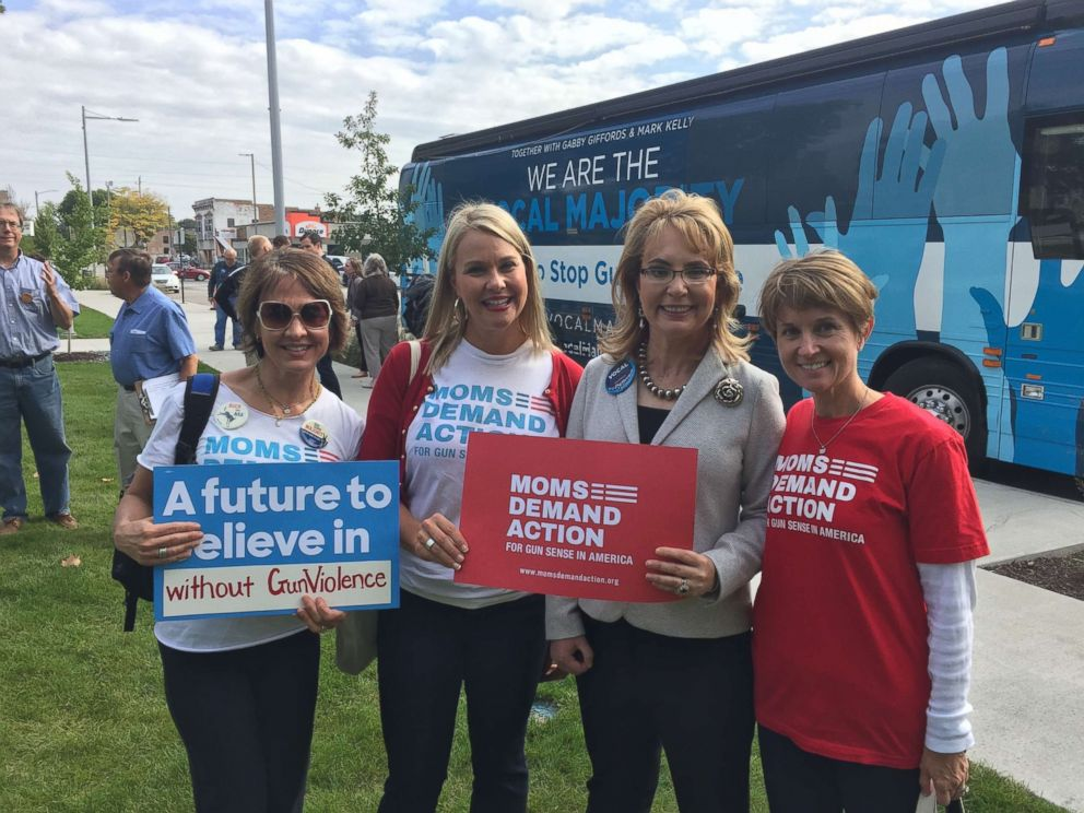 PHOTO: Amber Gustafson, (2nd L), is pictured in Cedar Rapids, Iowa in 2016 with former congresswoman Gabrielle Giffords, (2nd R), and other leading activists for stricter gun laws.