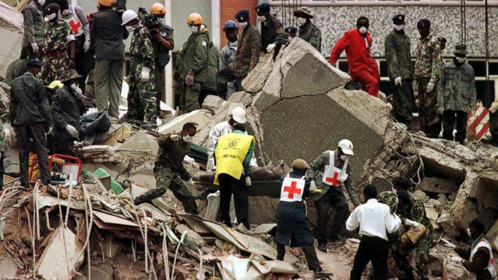 PHOTO: A body is carried from the wreckage in Nairobi, Kenya, following a bombing near the U.S. Embassy, Aug. 9, 1998.