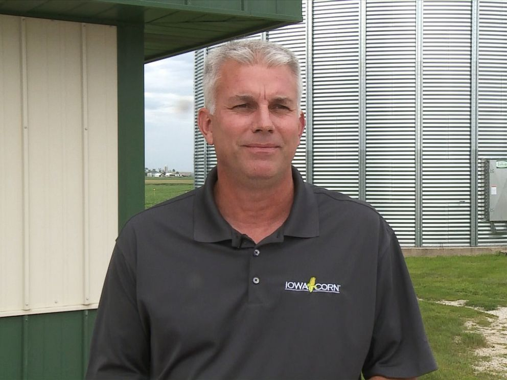 PHOTO: Mark Recker, president of the Iowa Corn Growers Association, says his corn and soybean harvests face plunging prices because of tariffs imposed by China, Mexico and the E.U.