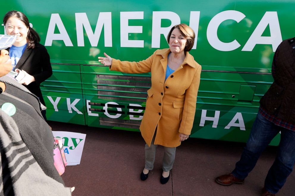 PHOTO: Democratic presidential candidate Sen. Amy Klobuchar speaks to local residents at a campaign event on the start of her bus tour in Cedar Rapids, Iowa, Oct. 18, 2019.