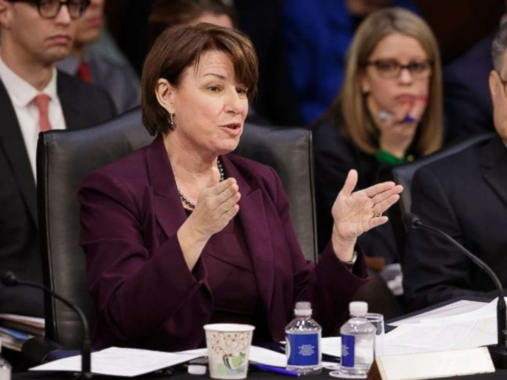 Democratic member of the Senate Judiciary Committee Sen. Amy Klobuchar, D-Minn., questions the Republican side on Monday, April 3, 2017, on Capitol Hill in Washington.