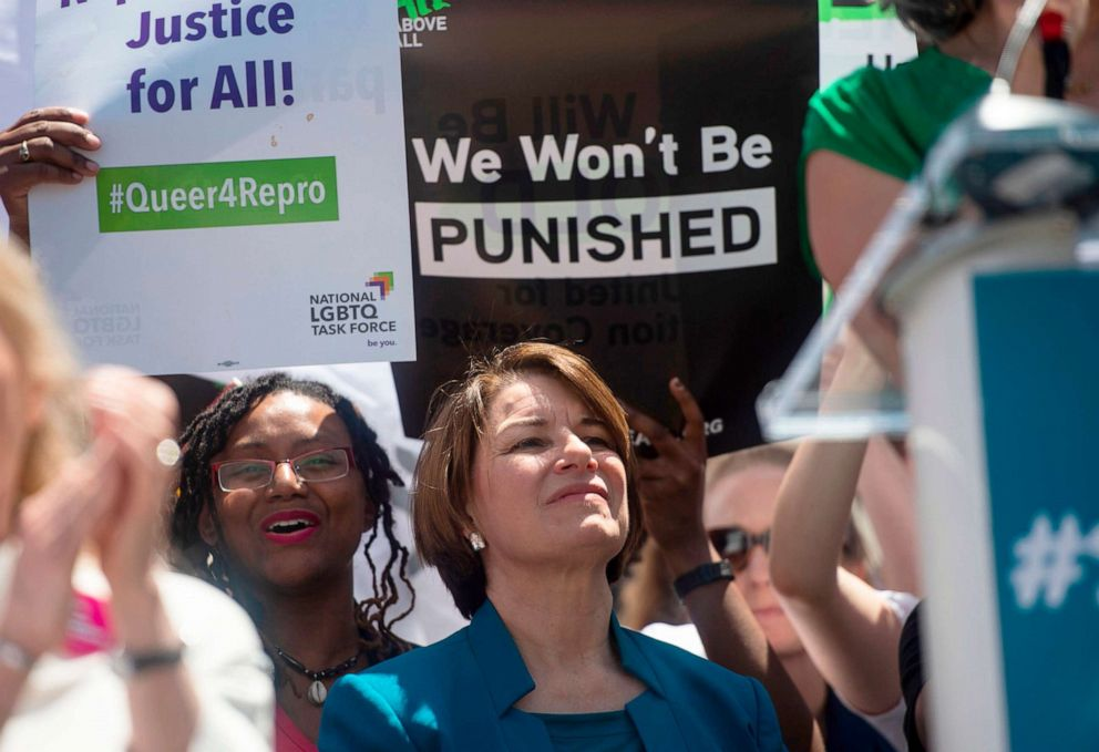 PHOTO: Democratic presidential candidate Senator Amy Klobuchar speaks outside the US Supreme Court during a pro-choice rally in Washington, DC, May 21, 2019.