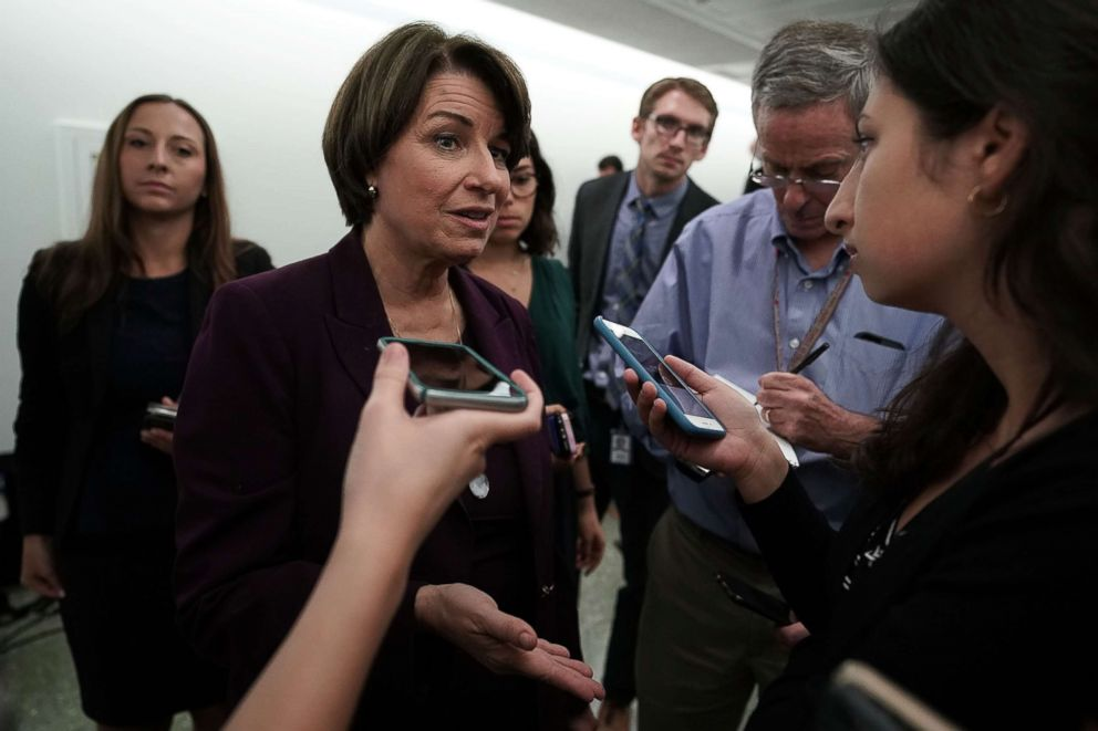 Sen. Amy Klobuchar speaks to members of the media after Senate Judiciary Committee voted to approve, along party lines, the nomination of Judge Brett Kavanaugh to the Supreme Court, Sept. 28, 2018, at Dirksen Senate Office Building on Capitol Hill in Washington, DC.