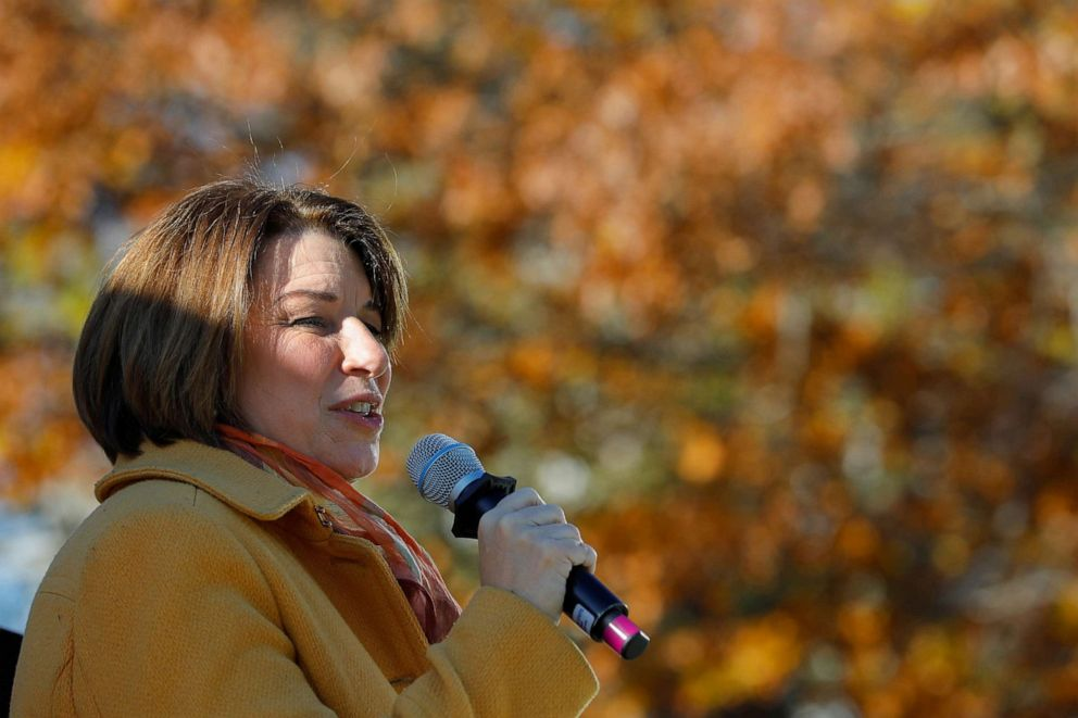 PHOTO: Senator and Democratic Presidential candidate Amy Klobuchar speaks to supporters after filing her declaration of candidacy papers for the 2020 New Hampshire primary election ballot at the State House in Concord, New Hampshire, Nov. 6, 2019.