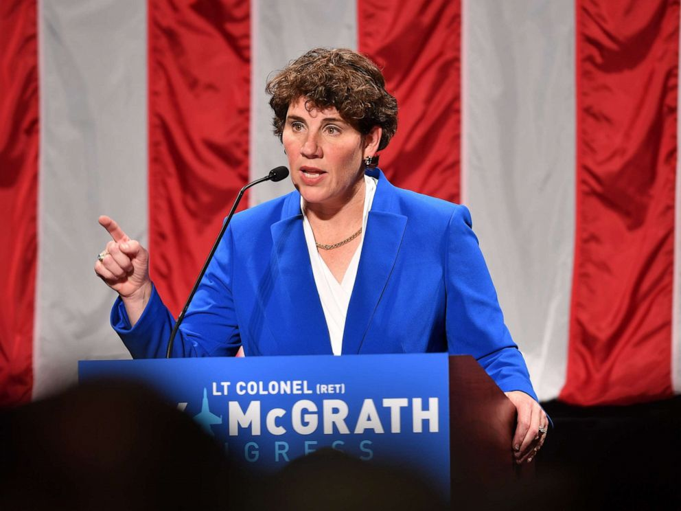 PHOTO: Amy McGrath address supporters after her loss during her Election Night Event at the EKU Center for the Arts on Nov. 6, 2018, in Richmond, Ky.