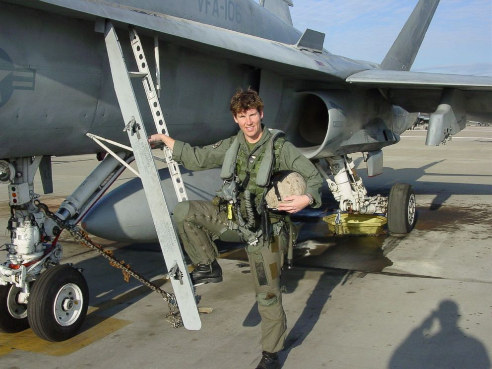 PHOTO: Lt. Colonel Amy McGrath stands beside an F/A-18 in Virginia Beach, Va., where she was part of a squadron in 2007. McGrath, running as a Democrat for a House seat in Kentucky, was the first woman to fly an F/A-18 in combat for the Marine Corps.