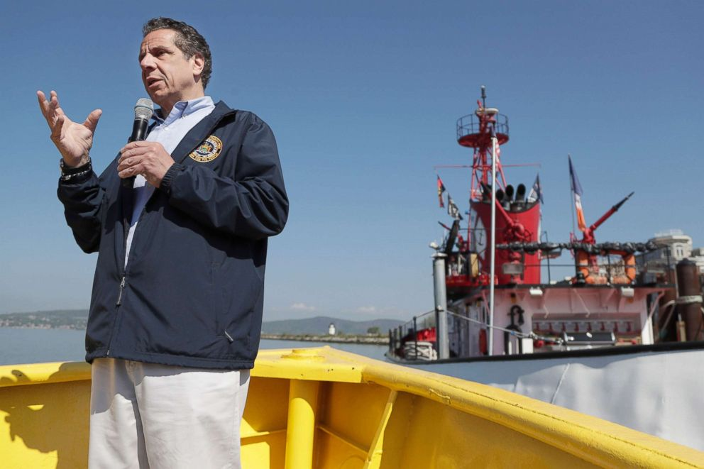 PHOTO: New York Gov. Andrew Cuomo speaks while atop a small boat about the recent news of allegations of violence against women by state Attorney General Eric Schneiderman, May 8, 2018, in Tarrytown, N.Y.
