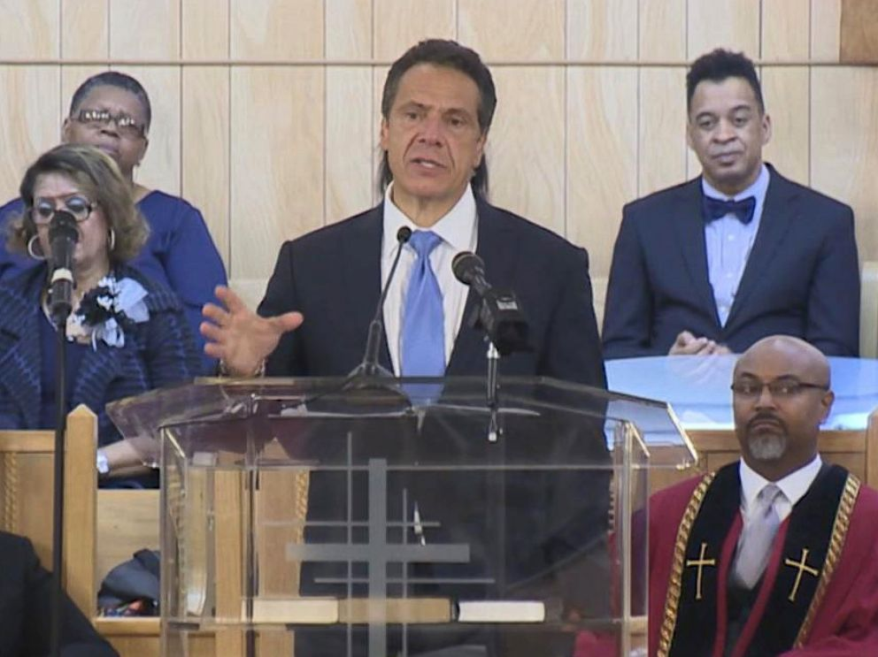 PHOTO: New York Gov. Andrew Cuomo addresses the congregation at the First Baptist Church of Crown Heights in the Brooklyn borough of New York, Aug. 19, 2018.