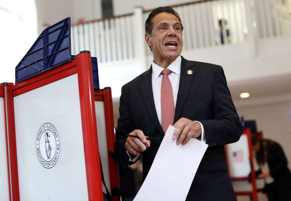 PHOTO: New York Governor Andrew Cuomo holds his ballot while voting in the New York Democratic primary election at the Presbyterian Church in Mt. Cisco, N.Y., Sept. 13, 2018.