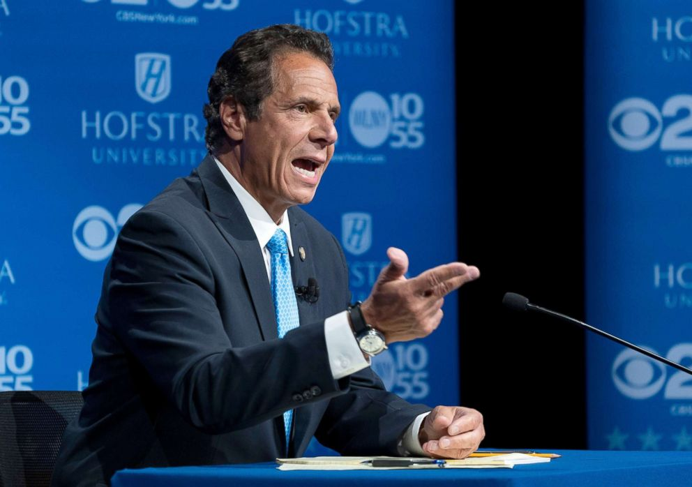Andrew Cuomo answers a question during a gubernatorial debate with Democratic New York gubernatorial candidate Cynthia Nixon at Hofstra University in Hempstead New York Aug. 29 2018