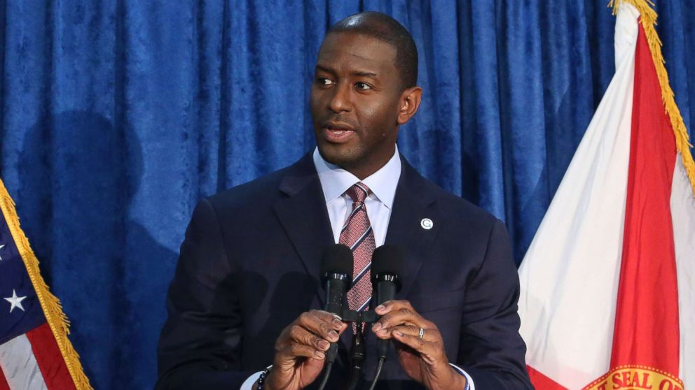 Andrew Gillum, the Democrat candidate for governor, withdraws his concession in the race at a news conference on Nov. 10, 2018, in Tallahassee, Fla.