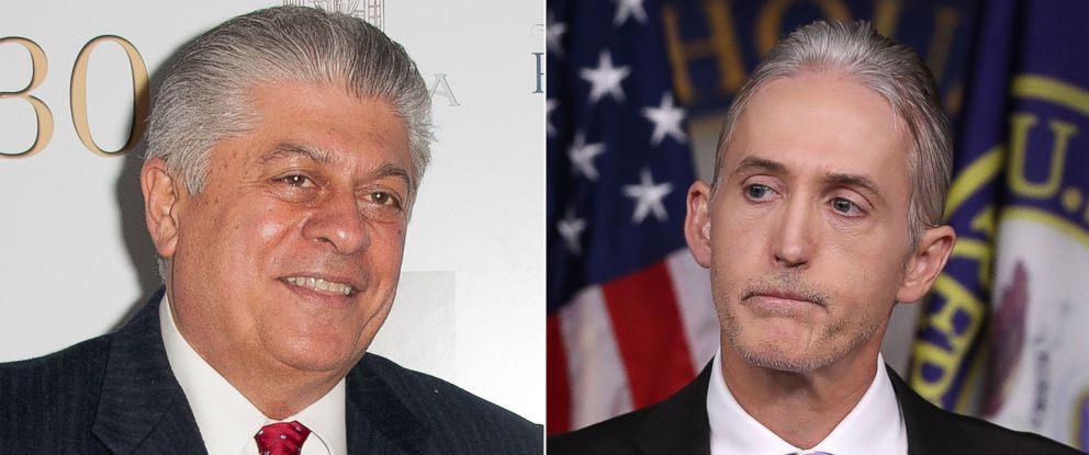 PHOTO: Judge Andrew Napolitano attends a party at the United Nations, May 2, 2012 in New York City and Trey Gowdy, participates in a news conference June 28, 2016 in Washington, D.C.