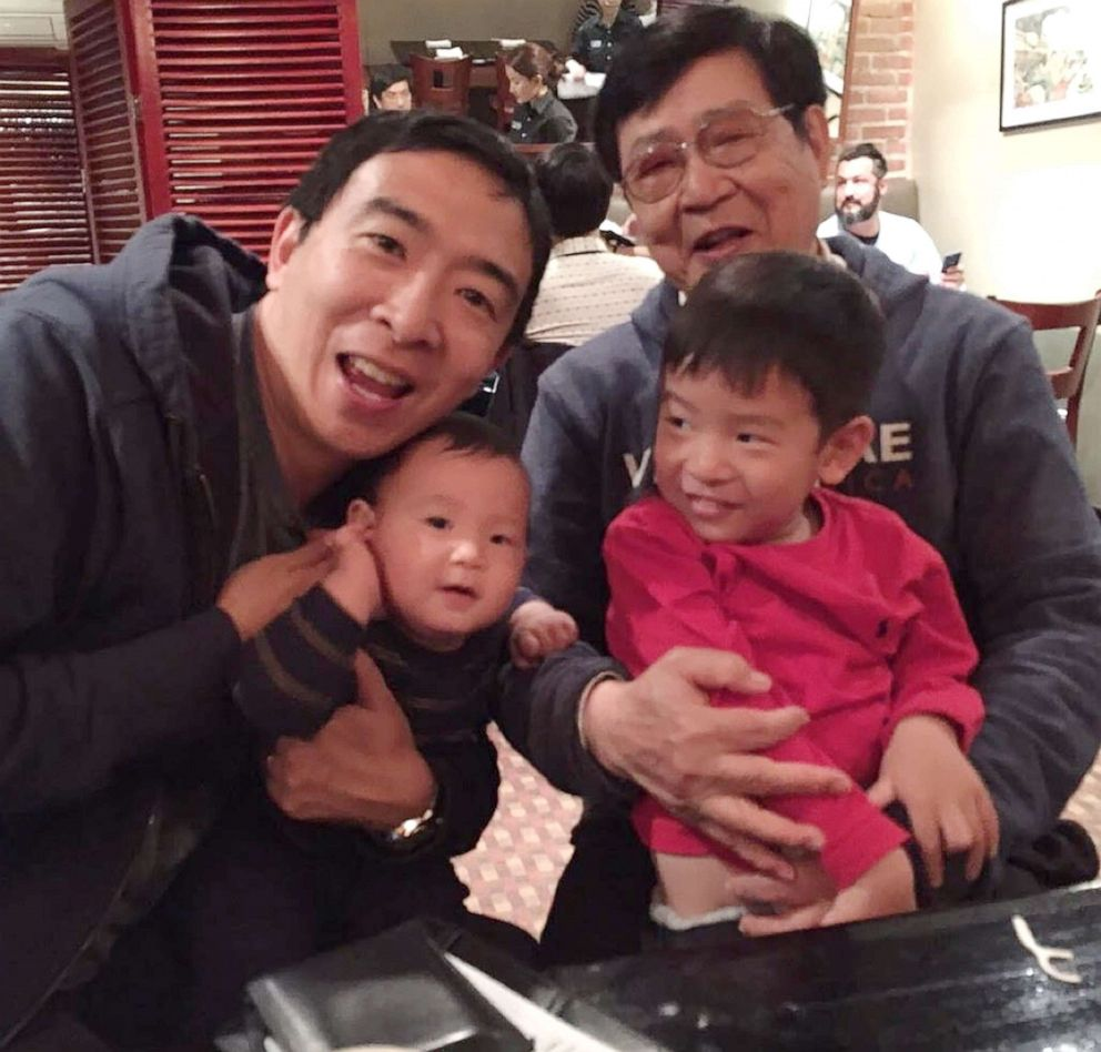 PHOTO: Andrew Yang with his two sons and his father, Kei Hsiung Yang, in an undated photo.