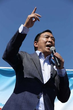 PHOTO: Democratic presidential candidate Andrew Yang delivers a 20-minute campaign speech at the Des Moines Register Political Soapbox at the Iowa State Fair, August 09, 2019, in Des Moines, Iowa.