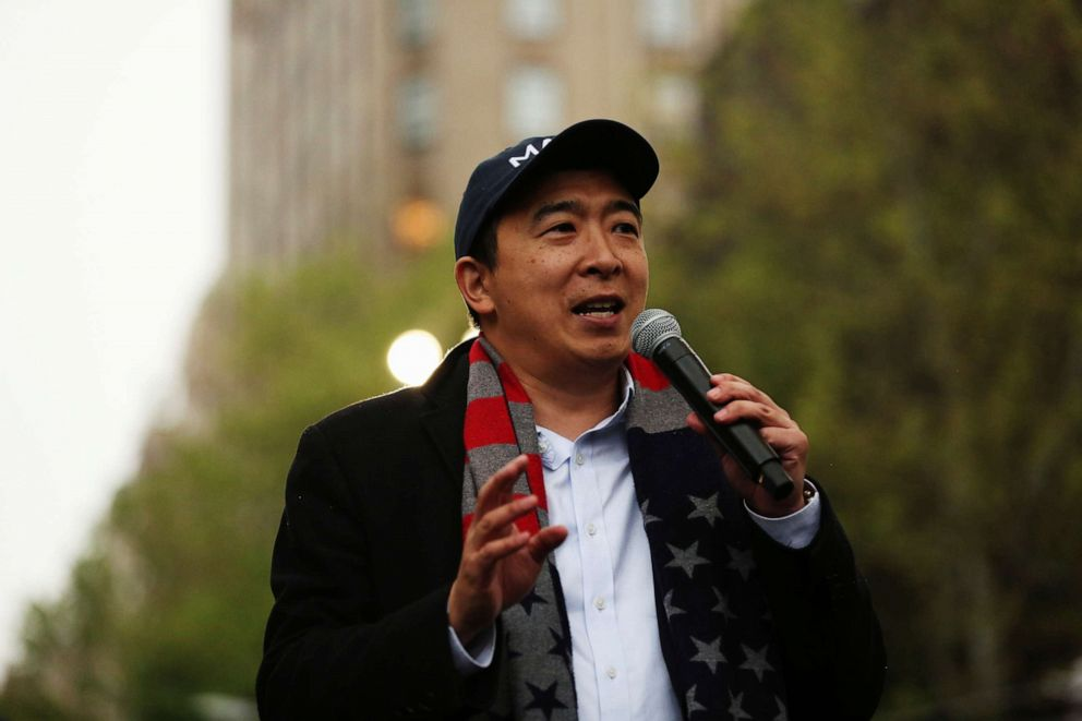 PHOTO: U.S presidential candidate Andrew Yang holds a rally in the Manhattan borough of New York, May 14, 2019.
