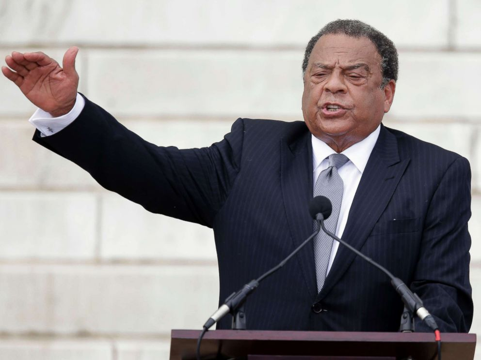 PHOTO: Former United Nations Ambassador Andrew Young speaks at the Let Freedom Ring ceremony at the Lincoln Memorial in Washington, D.C., to commemorate the 50th anniversary of the 1963 March on Washington for Jobs and Freedom, Aug. 28, 2013.