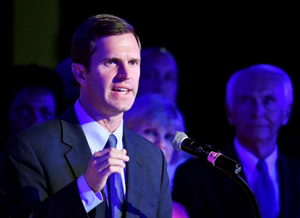PHOTO: Kentucky Attorney General Andy Beshear, left, addresses his supporters following his victory in the democratic primary for Governor in Louisville, Ky., Tuesday, May 21, 2019.