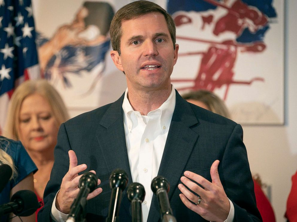 PHOTO: Kentucky democratic gubernatorial candidate and Attorney General Andy Beshear speaks to the media during a press conference at the Muhammad Ali Center, Nov. 6, 2019, in Louisville, Ky.