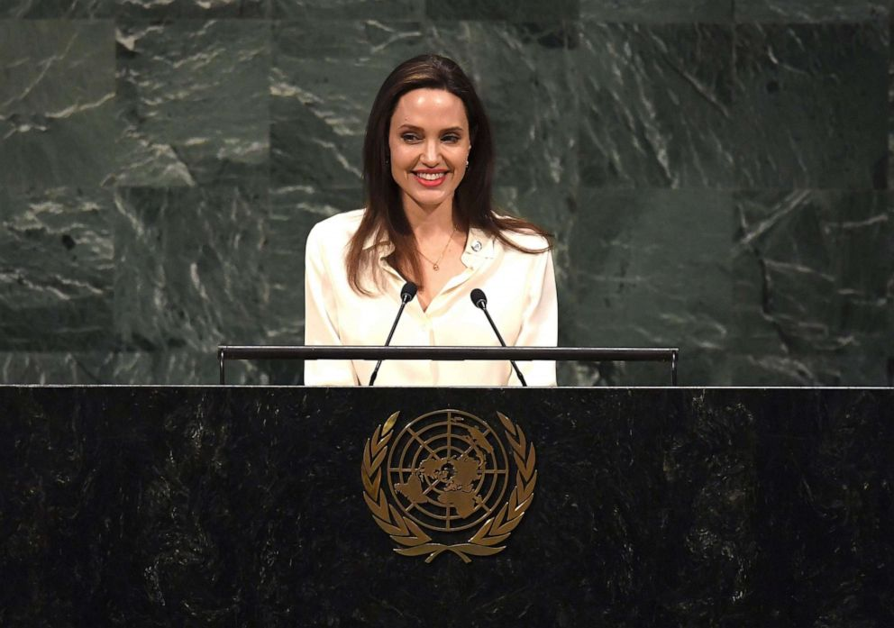 PHOTO: Angelina Jolie addresses a meeting of the UN Peacekeeping Ministerial: Uniformed Capabilities, Performance and Protection at the United Nations in New York, March 29, 2019.