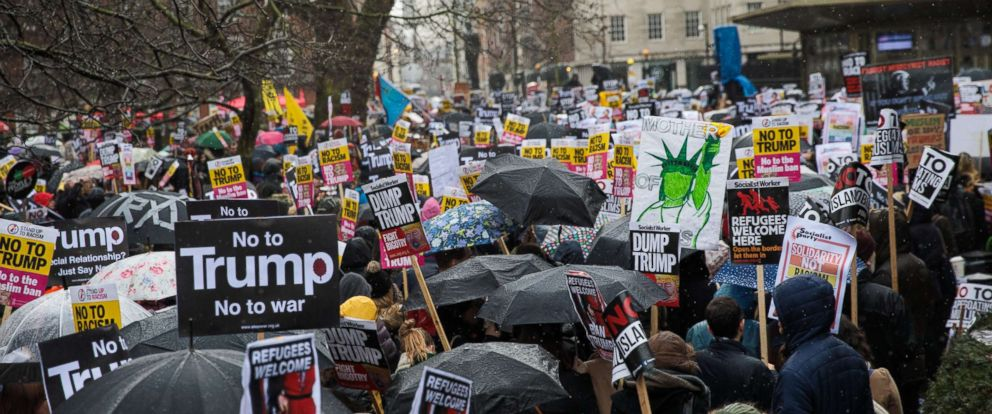 PHOTO: Thousands of demonstrators protest outside the U.S. Embassy against President Donald Trump on Feb. 4, 2017 in London.