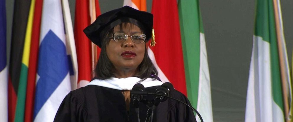 PHOTO: Anita Hill delivers a commencement address to graduates at Wellesley College, May 31, 2019, in Wellesley, Mass.