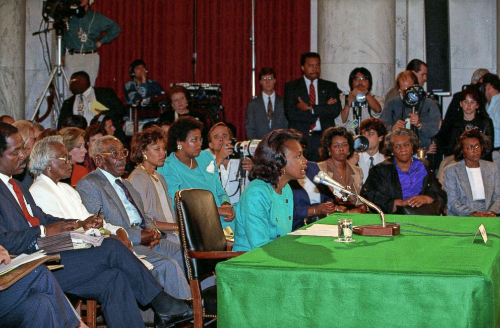 PHOTO: Professor Anita F. Hill testifies before the United States Senate Judiciary Committee on the confirmation of Judge Clarence Thomas to be Associate Justice of the US Supreme Court in Washington, DC, Oct. 11, 1991.