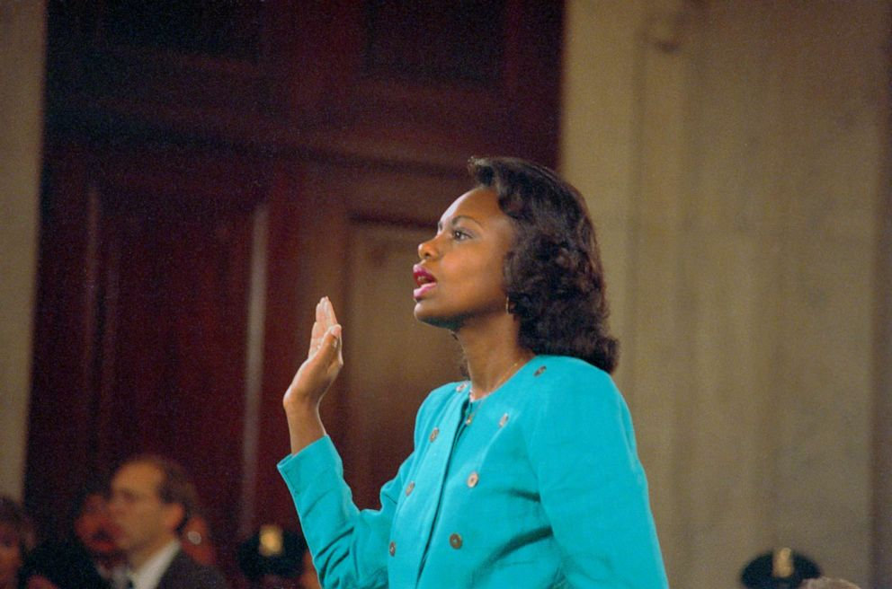 PHOTO: Anita Hill is sworn-in before testifying at the Senate Judiciary hearing on the Clarence Thomas Supreme Court nomination.