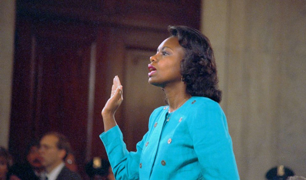 PHOTO: (Professor Anita Hill is sworn-in before testifying at the Senate Judiciary hearing on the Clarence Thomas Supreme Court nomination, Oct. 11, 1991.