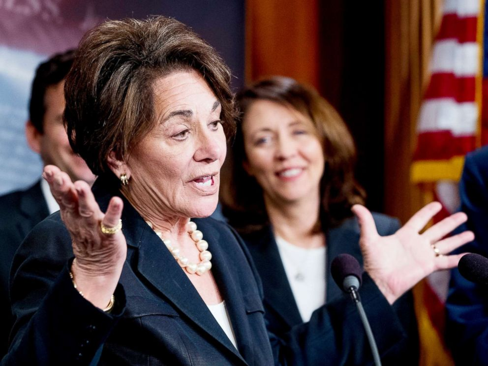 PHOTO: Rep. Anna Eshoo, D-Calif., accompanied by Sen. Maria Cantwell, right, and other Democratic congressmen, speaks at a news conference on Capitol Hill in Washington, May 16, 2018.