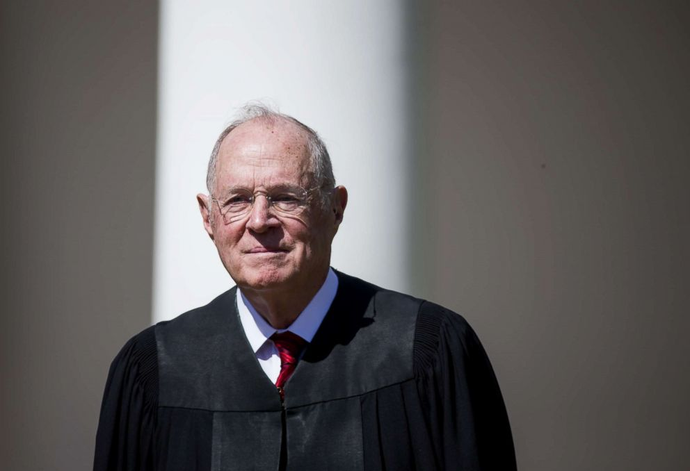 PHOTO: Supreme Court Associate Justice Anthony Kennedy is seen during a ceremony in the Rose Garden at the White House, April 10, 2017, in Washington, DC.