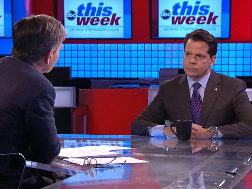 PHOTO: ABC News George Stephanopoulos interviews Anthony Scaramucci on This Week, Aug. 13, 2017.