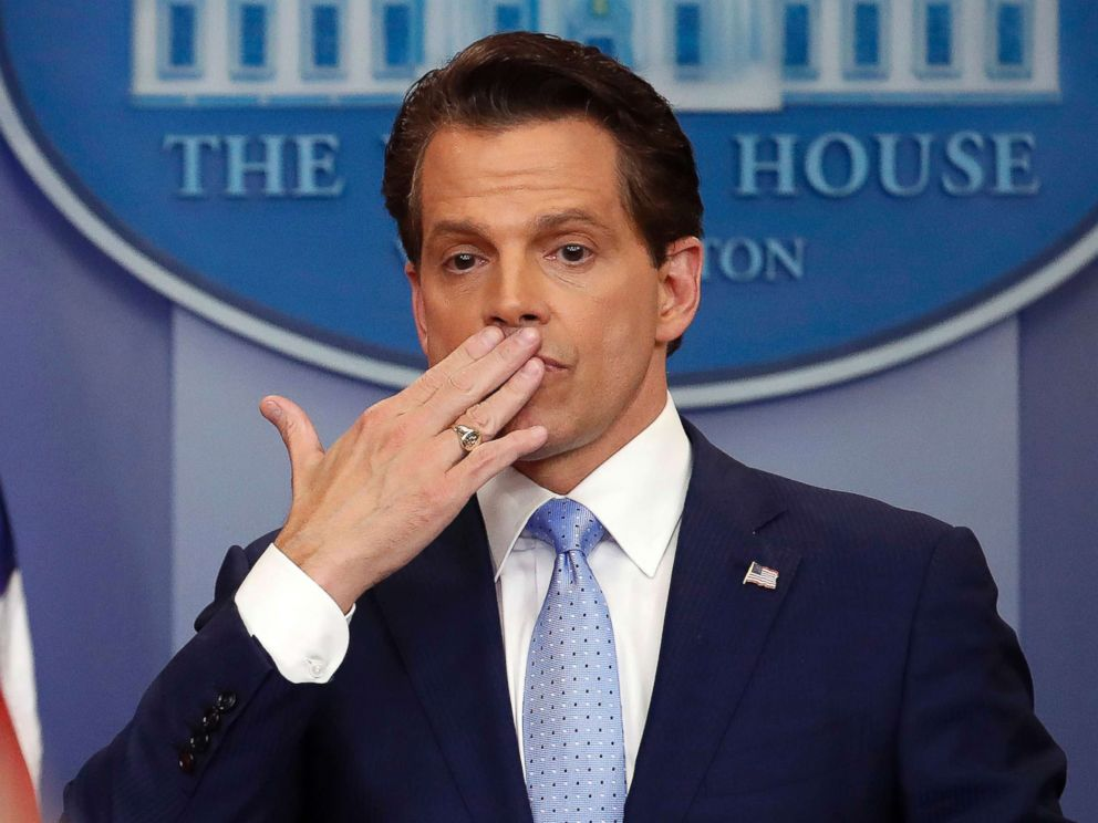 PHOTO: Incoming White House communications director Anthony Scaramucci, right, blowing a kiss after answering questions during the press briefing in the Brady Press Briefing room of the White House in Washington, July 21, 2017.