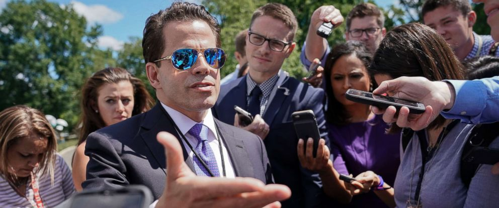 PHOTO: White House communications director Anthony Scaramucci speaks to members of the media at the White House in Washington, July 25, 2017.