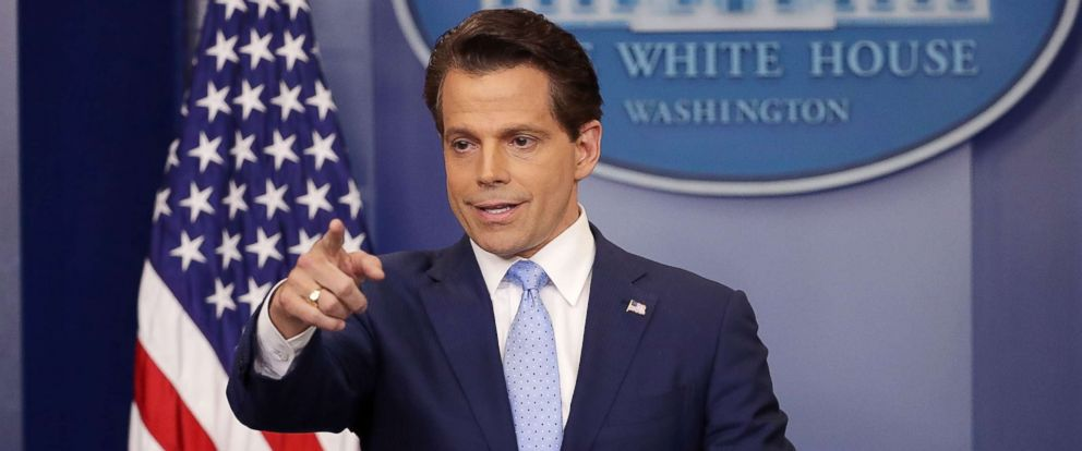 PHOTO: Anthony Scaramucci answers questions during the daily White House press briefing, July 21, 2017.