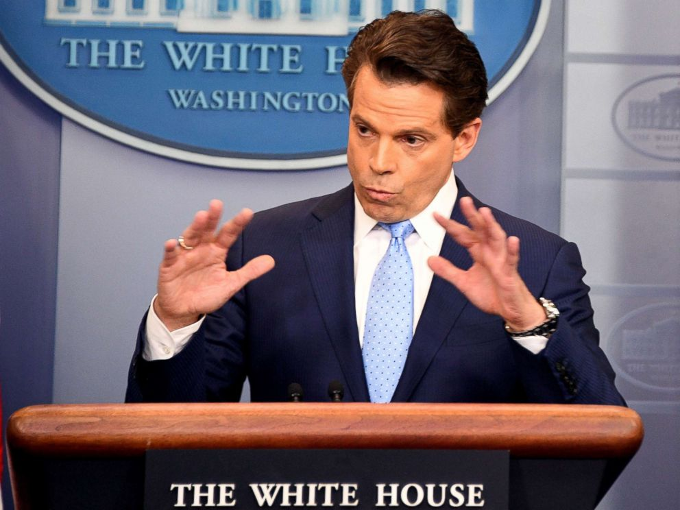 PHOTO: White House communications director Anthony Scaramucci speaks during a press briefing at the White House, July 21, 2017.