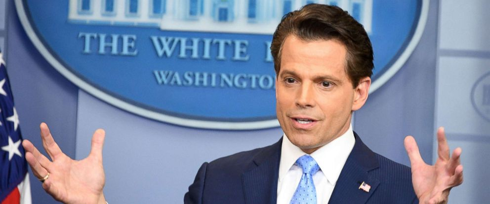 PHOTO: This file photo taken on July 21, 2017 shows Anthony Scaramucci, named Donald Trumps new White House communications director speaks during a press briefing at the White House in Washington, D.C.