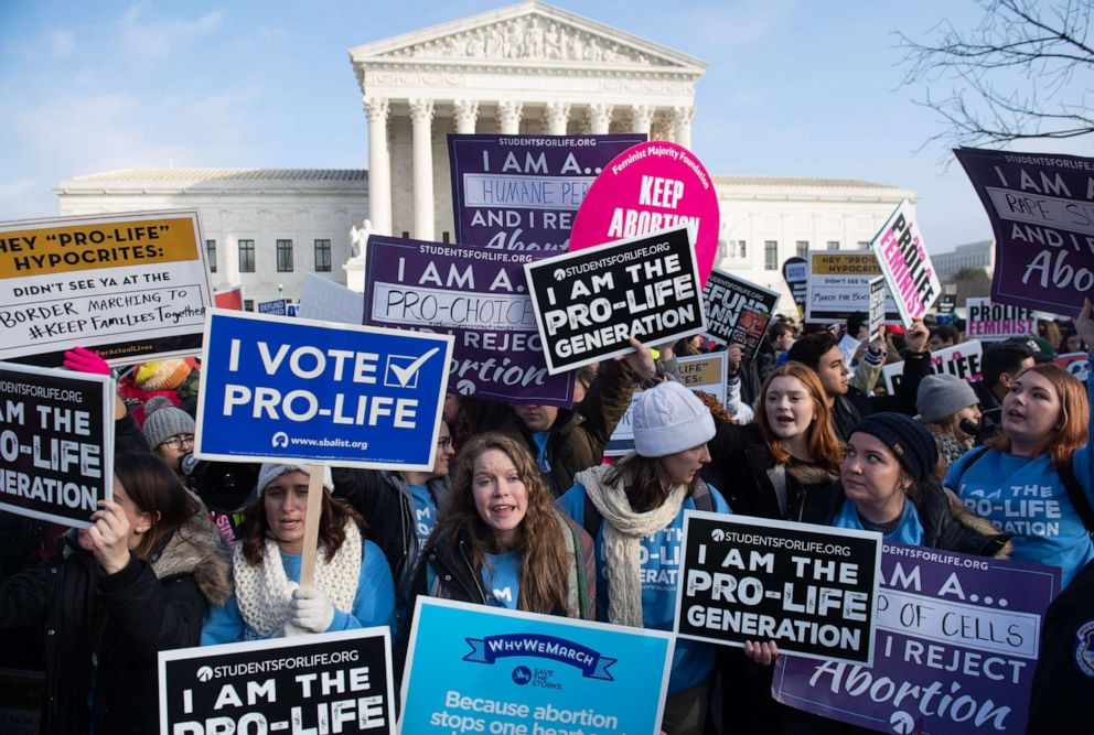 PHOTO: Pro-abortion rights and anti-abortion protesters hold signs in front of the U.S. Supreme Court in Washington, Jan. 18, 2019.