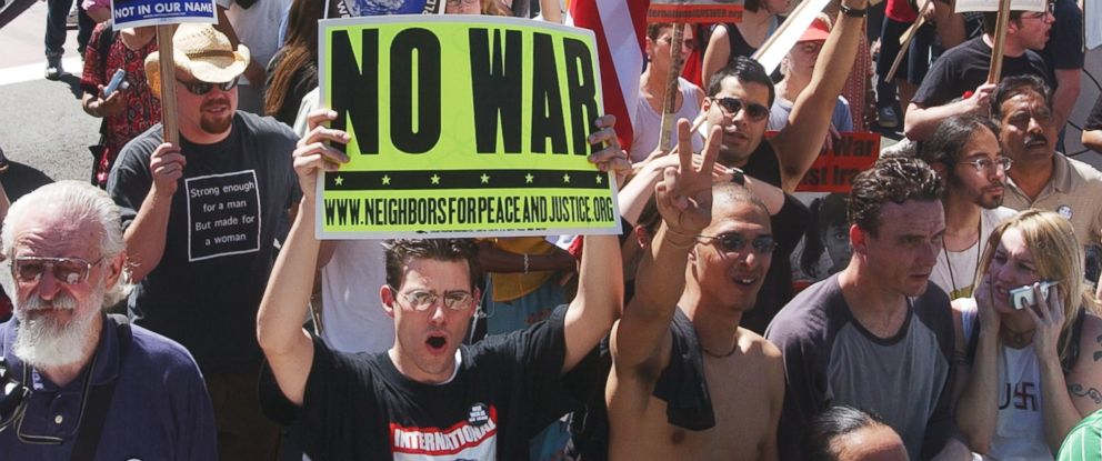 PHOTO: Thousands of anti-war protesters rally in opposition to the US-led invasion of Iraq March 30, 2003 in Los Angeles.
