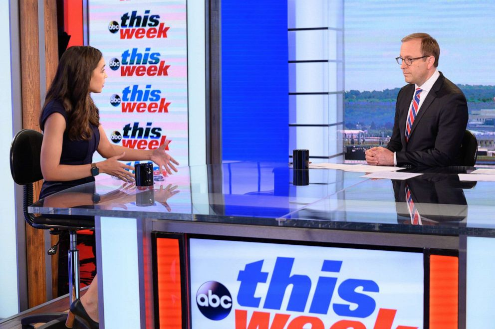 PHOTO: Chief White House Correspondent Jonathan Karl speaks exclusively with Rep. Alexandria Ocasio-Cortez, D-N.Y., in her first Sunday morning interview since taking office on This Week with George Stephanopoulos, June 16, 2019 on ABC.
