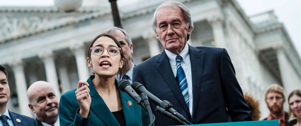 PHOTO: Rep. Alexandria Ocasio-Cortez (D-N.Y.) speaks alongside Sen. Ed Markey (D-Mass.) at a news conference about the Green New Deal, in Washington D.., Feb. 7, 2019.