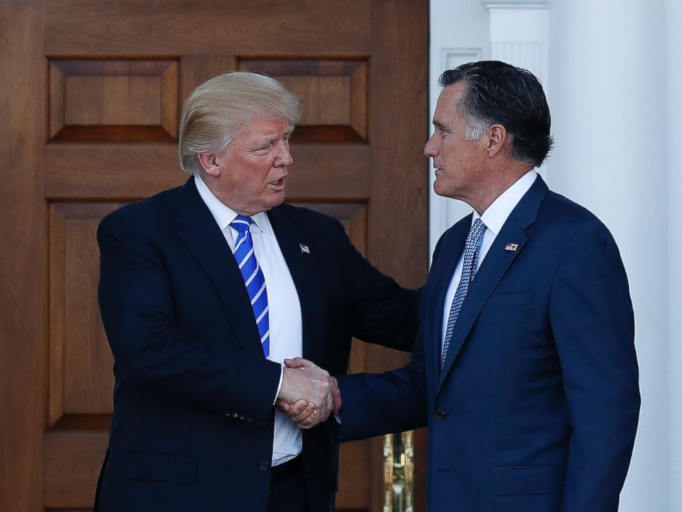 PHOTO: President-elect Donald Trump and Mitt Romney shake hands as Romney leaves Trump National Golf Club Bedminster in Bedminster, N.J., Nov. 19, 2016.