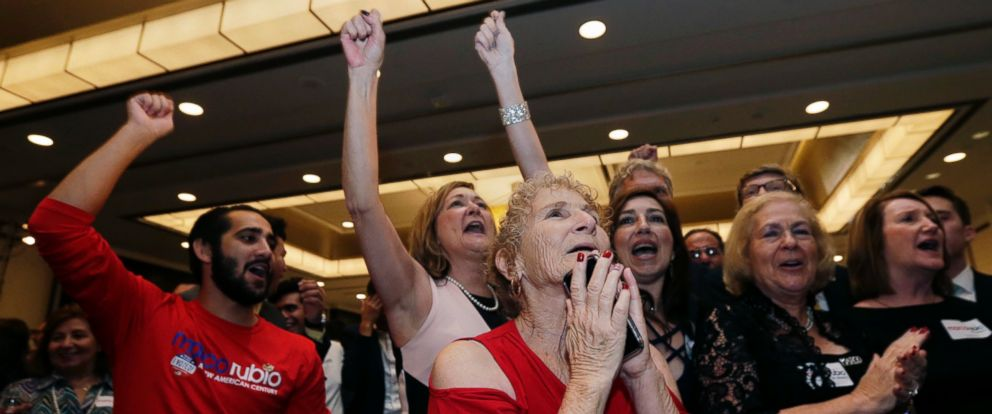 PHOTO: Supporters in Miami cheer as news outlets show a projected win for Sen. Marco Rubio to a second term, Nov. 8, 2016.