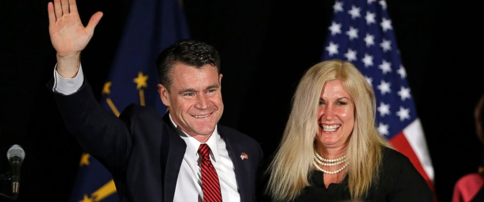 PHOTO: Todd Young, accompanied by his wife Jenny, celebrates beating Evan Bayh for a seat in the Indiana senate at an election night rally in Indianapolis, Nov. 8, 2016.