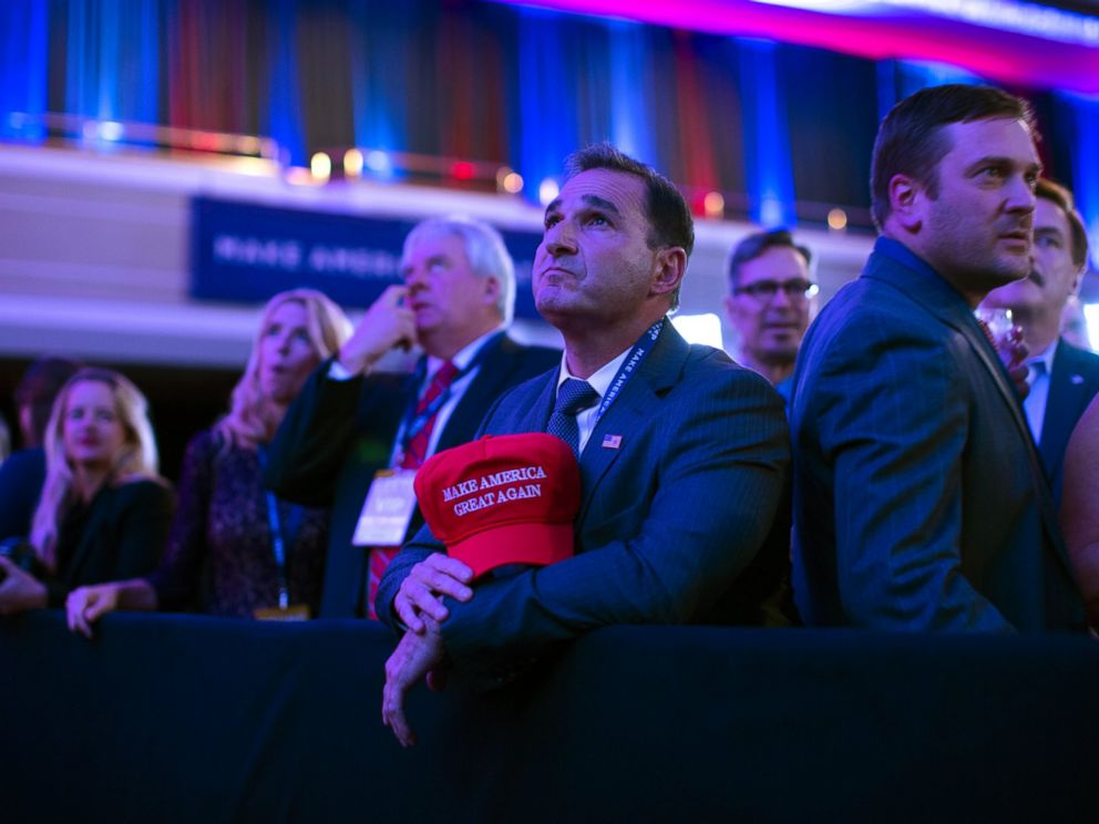 PHOTO: Supporters of Republican presidential candidate Donald Trump watch election results during an election night rally, Nov. 8, 2016, in New York.